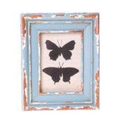 Fotorahmen mit Schmetterlingen, Shabby Chic, 13 x 11cm, Blau