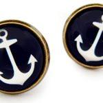 Miss Lovie Ohrstecker Nautische Anker Ohrringe Cabochon 12mm Ohrschmuck Dunkelblau Bronze