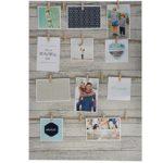 XXL Fotorahmen mit Schnüren und Holzklammern 50 x 70 cm - Fotowand