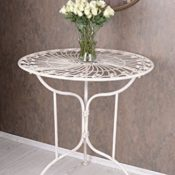 Gartentisch Shabby Chic Weiss Tisch Metall Antik Eisentisch Vintage