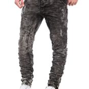 Jogg Jeans Herren Sweatpants Hose Denim Destroyed Vintage Clubwear Chino Kosmo Japan Style Look Used Grau (W31/L32)