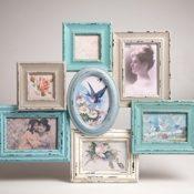 Bilderrahmen Gruppe Blau Vintage Shabby Chic Wandbefestigung