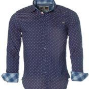 ST. MORITZ Herren Langarm Hemd Shirt Vintage-Hemd Gemustert Blau M