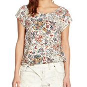 ONLY Damen Onlnova Brright Aumumn S/S TOP WVN, Mehrfarbig (Whitecap Gray AOP:Bright Autumn Flower), 40