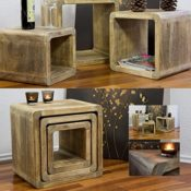 NEG Tisch-Set VINUJA (naturbraun) 3-tlg. Nachttisch/Beistelltisch (Echtholz: 44/36/28x35cm)